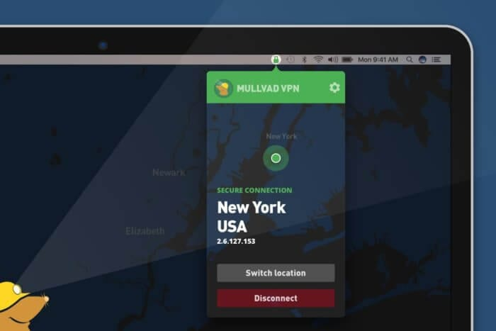 mullvad vpn app screenshot